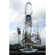 Rocket Shape Arm Tree Grand Glass Water Pipe Smoking Pipe Perc Multi Percolator Smoking Pipe Prix de gros