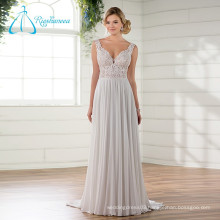 Lace Appliques Sequined Chiffon Satin Wedding Dress Beaded