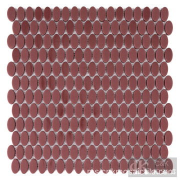 Backsplash Ubin Mosaik Kaca Berkilat dan Matt Red