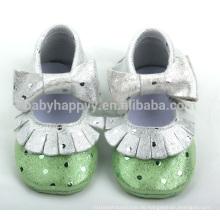 Schöne Mädchen Leder Kleinkind Mokassins Schuhe niedlichen Bogen glänzende Baby Schuhe