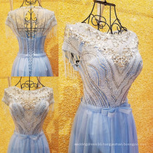 High Quality Luxury Beading Shining Crystal Rhinestone Cap Sleeve Tulle Evening Dress Real Sample Sexy See Through Gowns ML155