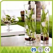 Decoración para el hogar Floreros de vidrio alto Forma del cilindro Flor Florero