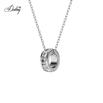 2021 New Premium Austrian Crystal Jewelry Minimalist Baguette Ring Pendant Necklace for Couple