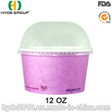 12oz Disposableice Ice Cream Paper Cup with Lid (12 oz-4)