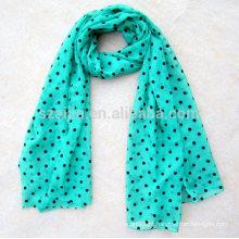 Moda feminina 100 poliéster dot padrão voile lenço