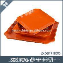18pcs оранжевый цвет керамический ужин набор хорошего качества неправильной формы посуды