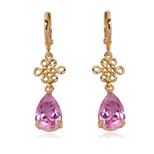 Chinese Knot Plated 18k Gold Silver CZ Earrings