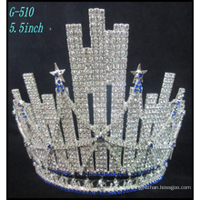 La joyería de plata de la boda del desfile Tiara embroma la princesa Tiara Rhinestone grande la mejor corona