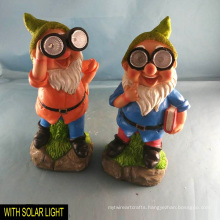 Solar Lighted Eye Polyresin Dwarf for Garden Decoration