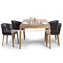 Hot sale rope garden furniture outdoor webbing dining set with wooden table