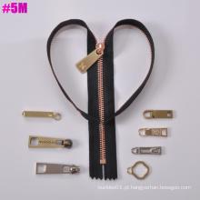 Y Dente, One Way Open Metal Zipper 5 #, Cadeia Longa
