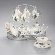 Jogo de chá de porcelana com suporte de metal JXSK005