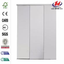 48 in. X 96 in. Concord Puerta corredera interior de aluminio blanco con espejo