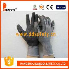 Grey Nylon with Black Latex Working Gloves Dnl108