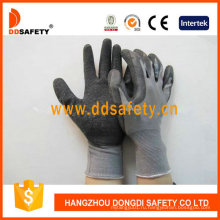 Серый нейлон с черным латексом рабочие перчатки Dnl108