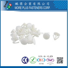 Hecho en Taiwán PP Nylon Fácil Liberación Empujar Fit Plástico Remache Blanco