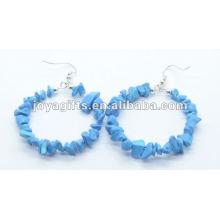 Fashion Round Shape Turquoise Chip Stone Earring boucles d'oreille en pierres naturelles avec boucles d'oreilles en argent