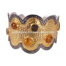 Последний Дизайн Янтарь И Драгоценный Камень Аммолит 925 Твердое Серебро Браслет