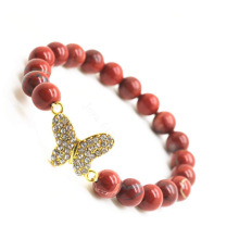 Red Jasper 8MM Round Beads Stretch Gemstone Bracelet with Diamante Butterfly alloy Piece