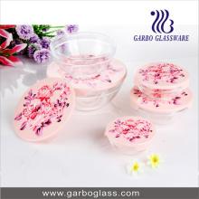 Ensemble de bol en verre 5PCS avec tampon d'impression GB1401-Mg