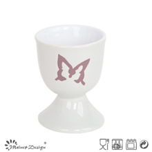 5cm Ceramic Egg Cup with Engraved Butterfly
