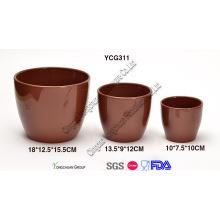 Céramique Brown Color Flower Pots Ensemble de 3