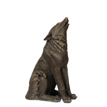 Aniaml Bronze Skulptur Wolf Roar Dekor Messing Statue Tpy-725