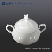 Weißer plain bone china dusche teller mit Deckel