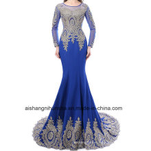 Elegant Mermaid Long-Sleeved Formal Dress Sexy Applique Evening Dress