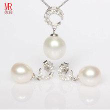 925 серебряный комплект ювелирных изделий пресноводной перлы, шкентель, серьги