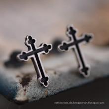 925 Sterling Silber Kreuz Ohrstecker Nie Piercing Modeschmuck