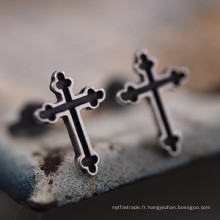 925 Sterling Silver Cross Boucles D'oreilles Stud No Piercing Bijoux De Mode