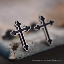 Parafuso prisioneiro dos brincos da cruz da prata 925 esterlina nenhuma jóia Piercing da forma
