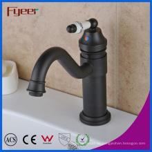 Fyeer Long Spout Bathroom Grifo de agua negra con mango de cerámica