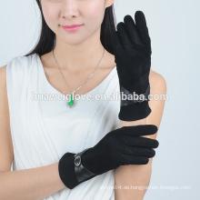 Qualitätsfrauen arbeiten preiswerte Velourslederlederhandschuhe um