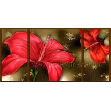 Pintura al óleo moderna pintada a mano de la flor del arte de la lona (FL3-185)