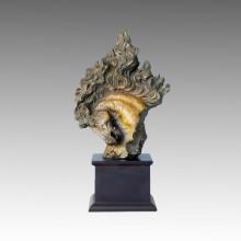 Animal Bronze Sculpture Small Horse Head Brass Statue Tpal-003