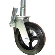 Andaime de andaimes com roda de aço moldada em borracha preta de 6in 8in