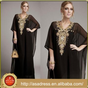 ME-07 Elegant Black Chiffon à manches longues Formal Muslim Party Robe de soirée Longueur V Neck Ladies Arab Gowns