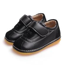 Schwarzes Wildleder-Baby-Schuh-weiches echtes Leder-Inneres