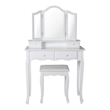 Assembly Vanity Makeup Dressing Table with Cushioned Stool