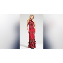 2019 lace flower bling  evening dress paty gown sexy backless  halter neckline Sleeveless Lace Evening Gown Long Evening Dress