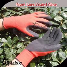 Sr Safety13 gauge knitted red polyester coated black latex on palm for safety working gloves