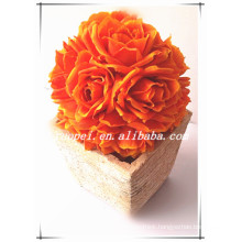 New fasion PE handmaking artificial wedding rose flower ball made in china