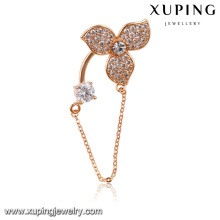 00019-xuping moda pendurado broches, broche de diamante de ouro com corrente