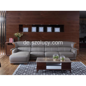Graues Ledersofa mit Chaise
