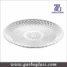 Large Round Engraved Glass Dinner Plate