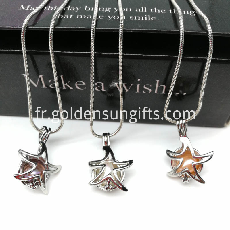 Starfish Pearl Cage Pendant Snake Chain Necklace