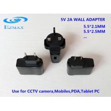 5V 2A adaptador de pared universal CCTV fuente de alimentación adaptador de corriente