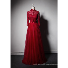 LSQ079 High neck natural waist with belt evening dress prom night long sleeve red evening dress